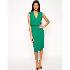 ASOS Pencil Dress with V Neck (755 UAH) ❤ liked on Polyvore featuring dresses, green, asos, pink v neck dress, asos dresses, v neck dress and vneck dress