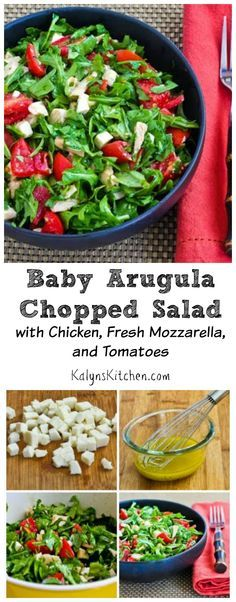 Baby Arugula Chopped Salad with Chicken, Fresh Mozzarella, and Tomatoes (Low-Carb, Gluten-Free) [from KalynsKitchen.com]