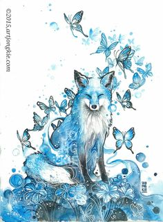 Watercolor paintings by Luqman Reza - Ego - AlterEgo Watercolor Fox, Butterfly Watercolor, Watercolor Paintings, Tattoo Watercolor, Butterfly Art, Art Paintings, Butterflies, Animal Drawings, Cute Drawings