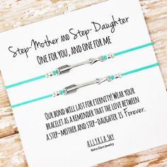 "Set of Two Charm Bracelets with ""Step-Mother and Step-Daughter"" Card 