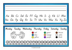 A double-sided reference card for students to have at their work station.Great for students who are still learning to write their name, recall letter shapes, know their colours,  count forwards/backwards to 20, etc.Cut, place back-to-back, then laminate. Spelling Words, Sight Words, School Resources, Classroom Resources, Teaching Kids, Kids Learning, Alphabet Cards, Learning To Write, Classroom Environment