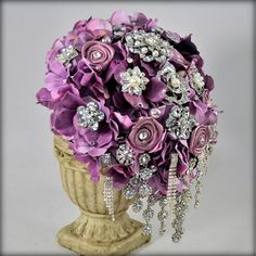 READY TO SHIP Lavender cascading Hydrangea bouquet  by BluePetyl