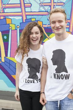 Star Wars couple shirt - I love you. I know. Princess Leia & Han Solo Harrison Ford silhouettes