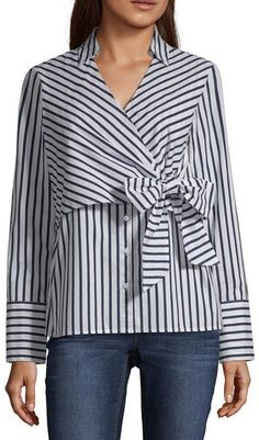 Belle + Sky Long Sleeve V Neck Poplin Blouse Blouse Styles, Blouse Designs, How To Wear Shirt, Sewing Blouses, Iranian Women Fashion, Dress With Sneakers, Elegant Outfit, Plus Size Blouses, Blouses For Women