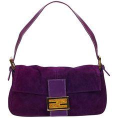 d43121b0aab0 Fendi Purple Suede Baguette Bag