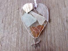 Handmade Ornaments, Handmade Gifts, Valentine Day Gifts, Valentines, Beach Heart, Shabby Chic Beach, Seaside Decor, Suncatchers, Creative Business