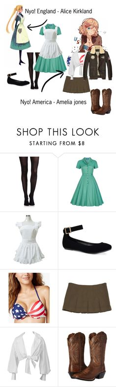 """""""Amelia and Alice - hetalia"""" by fangirl-weeb-nerd ❤ liked on Polyvore featuring SPANX, Collectif, Bamboo, California Waves, Missoni, Montana and Ariat"""