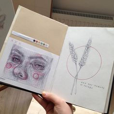 I want my sketch book to look like thi Sketchbook Inspiration, Art Sketchbook, Art Sketches, Art Drawings, Art Diary, Book Drawing, Bullet Journal Art, Art Hoe, Planner