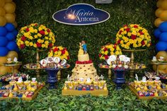 A MESA DECORADA FESTA A BELA E A FERA BEAUTY AND THE BEAST BIRTHDAY PARTY IDEAS.11