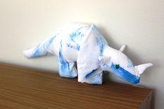 Handmade blue Triceratops dinosaur soft toy by Yoliprints on Etsy