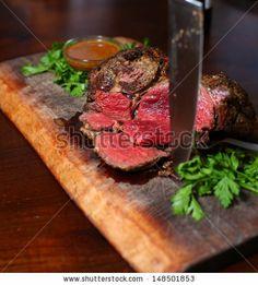 Medium Rare Entrecote Steak. - stock photo