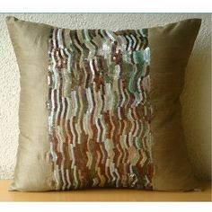 Handmade Gold Throw Pillow Covers 16x16 Silk by TheHomeCentric