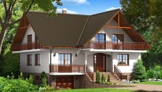 Proiect de casa cu beci si garaj -locuinte mai spatioase Dormer Bungalow, Design Case, Home Fashion, House Plans, Shed, Home And Garden, Exterior, Outdoor Structures, Cabin