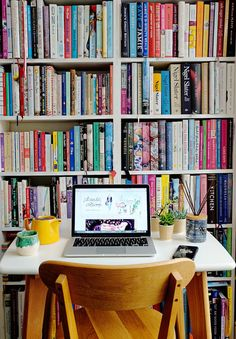 Book lover's home office.