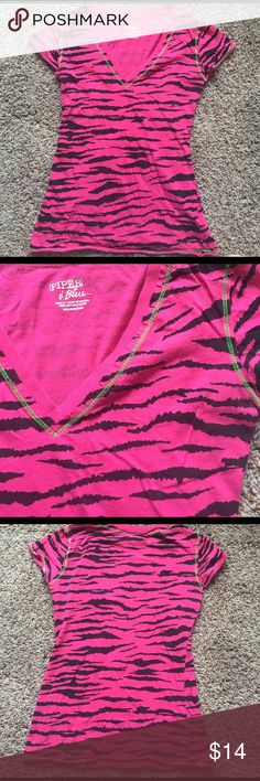 🌸HOST PICK🌸 Hot pink/black zebra print T shirt Hot pink T shirt with black zebra print. Lime green stitching on the seams. Size M. Tops Tees - Short Sleeve