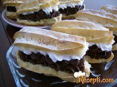 Ekleri dvobojni kremasti kolači - Kuhinja i Recepti Great Desserts, No Bake Desserts, Dessert Recipes, Czech Recipes, Ethnic Recipes, Nutella, Sweet Recipes, Cupcake Cakes, Sweet Tooth