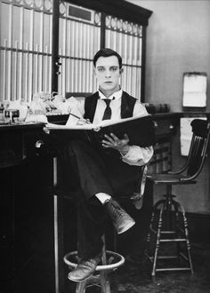 Buster Keaton, 1921, a publicity photo for The Haunted House