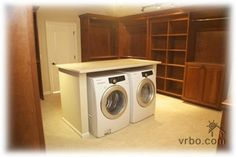 I love the washer and dryer in the master bedroom closet! Makes perfect sense.