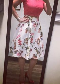 Pretty Red #croptop Paired With #floralskirt And #highheels #summeroutfits #summerstyle