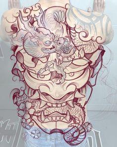 👹🐉 Concept by: Ben Banzai Location: Alicante, Spain Artist's IG: Japanese Tattoo Cherry Blossom, Japanese Back Tattoo, Japanese Tattoo Women, Japanese Dragon Tattoos, Japanese Sleeve Tattoos, Samurai Mask Tattoo, Hannya Mask Tattoo, Hanya Tattoo, Demon Tattoo