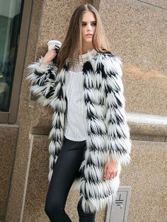 Black And White Stripes Long-line Fox Faux Fur Tassels Warm Coat Dresses #Tops #Swimwear #Jeans #Jackets #Skirts #Shoes