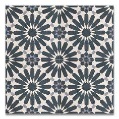 """Moroccan Mosaic Alhambra Handmade 8"""" x 8"""" Cement Subway Tile in Navy Blue/Gray"""