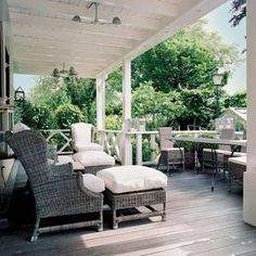 verandah with white timber ceiling and weathered boards. I like that some is covered and some is exposed.