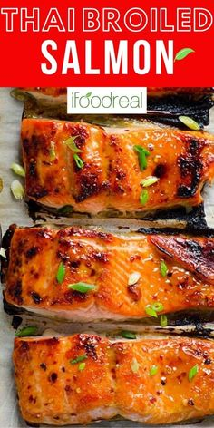 Thai Broiled Salmon with easy homemade sweet chili sauce cooked until caramelized on top and juicy inside. Quick and healthy 30 minute dinner. Baked Shrimp Recipes, Fish Recipes, Asian Recipes, Healthy Seafood Recipes, Easy Salmon Recipes, Thai Recipes, Yummy Recipes, Yummy Food, Salmon Dishes