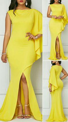 One Sleeve Front Slit Yellow Maxi Dress - Dresses - Summer Dress Outfits African Wear Dresses, Latest African Fashion Dresses, Women's Fashion Dresses, Elegant Dresses, Pretty Dresses, Beautiful Dresses, Casual Dresses, Dresses Dresses, Yellow Maxi Dress