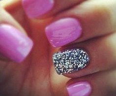 Purple nails with glitter nail art cute nails glitter nail purple creative pretty love nails nail ideas nail designs Gray Nails, Purple Nails, Love Nails, How To Do Nails, Pretty Nails, Fun Nails, Pink Nail, Orchid Nails, Purple Rings