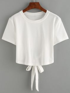 White Tie Back Crop T-shirt