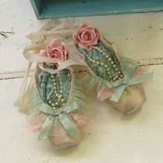 Decorated pink ballet pointe shoes pink and by AnitaSperoDesign
