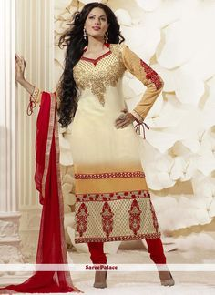 Cream And Beige Shaded Georgette Churidar Suit