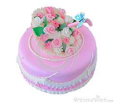 Pink birthday, wedding cake with flowers and