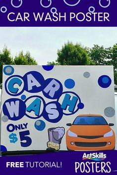 Having a summer car wash? Get drivers' attention with an awesome sign like this one!