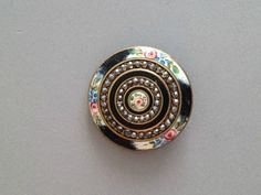 Antique French Enamel Button w A Floral Design 2 Rings of Cut Steels | eBay