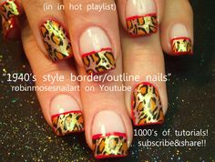 Nail-art by Robin Moses: 40's inspired nails, movie star nails, glam nails, vamp nails, dita von teese nail, marilyn monroe nail, celebrity nail, red border nail, outline/border nail, silver and black reverse french, border french outline, border outline animal print, veronica lake nail, starlet nails, robin moses, vixen nail art, siren nails, screen siren nail art,