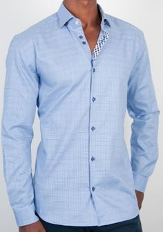 White texture button down shirt with a european semi-fitted body ...