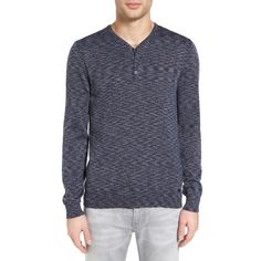 Men's John Varvatos Star Usa Space Dye Henley Sweater ($198) ❤ liked on Polyvore featuring men's fashion, men's clothing, men's sweaters, deep blue, mens sweaters and mens henley sweater