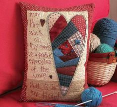 Love and Friendship Quilted Pillows from Leisure Arts presents six designs from the heart with inspiring quotes. These projects by Tricia Cribbs of Turning Twenty (formerly FriendFolks) offer lots of free-motion quilting that can easily be done on a regul Embroidery Patterns Free, Hand Embroidery, Machine Embroidery, Quilt Patterns, Patchwork Patterns, Old Quilts, Mini Quilts, Memory Pillows, Memory Quilts