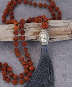 108 beads Rudraksha mala, intended for meditation, move through the beads one at a time, repeating a breath or mantra with each count.
