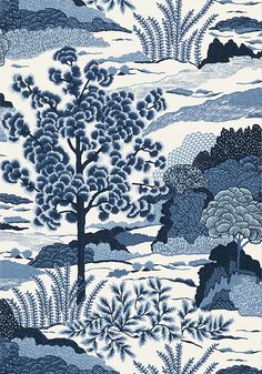 DAINTREE, (also in fabric) Blue on White, Collection Greenwood from Thibaut View Wallpaper, Fabric Wallpaper, Pearl Wallpaper, Blue And White Wallpaper, Blue And White Fabric, Gray Fabric, Green Wallpaper, Wallpaper Online, Wallpaper Samples