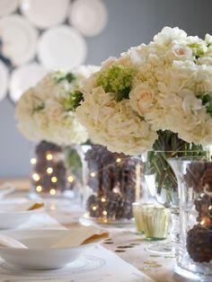 pinecones wedding centerpieces for winter wedding / http://www.deerpearlflowers.com/rustic-winter-pinecone-wedding-ideas/