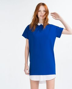 DRESS WITH CONTRAST NECK AND HEM-View all-WOMAN-NEW IN | ZARA Israel