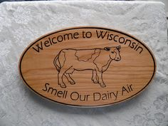 Welcome to Wisconsin  cute wooden sign  carved wooden by KCnCShop, $47.45