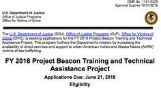 APPLY: Funding $450,000 to provide training & TA to award recipients NA Sex Trafficking http://1.usa.gov/1VVDLda