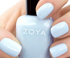 Shop for Zoya Nail Polish the longest wearing, natural nail polish available. Zoya Nail Polish is toluene, formaldehyde, DBP and Camphor Free. Over 300 Healthy Nail Polish Shades Available. Trendy Nails, Cute Nails, My Nails, Hair And Nails, Cute Simple Nails, Light Blue Nail Polish, Light Blue Nails, Light Purple, Zoya Nail Polish