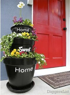 Home Sweet Home pots for the front porch.but I still love my topsy turvey clay pots in my front yard. Container Gardening, Gardening Tips, Outdoor Projects, Diy Projects, Garden Projects, Lawn And Garden, Home And Garden, Garden Water, Jardin Decor