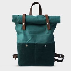 Backpack Waxed Canvas with leather details green  par Phestyn