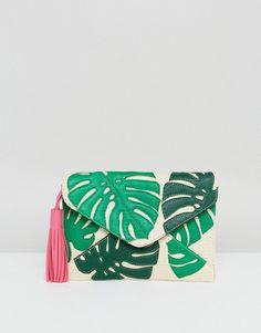 Skinnydip Straw Envelope Clutch Bag With Palm Leaf